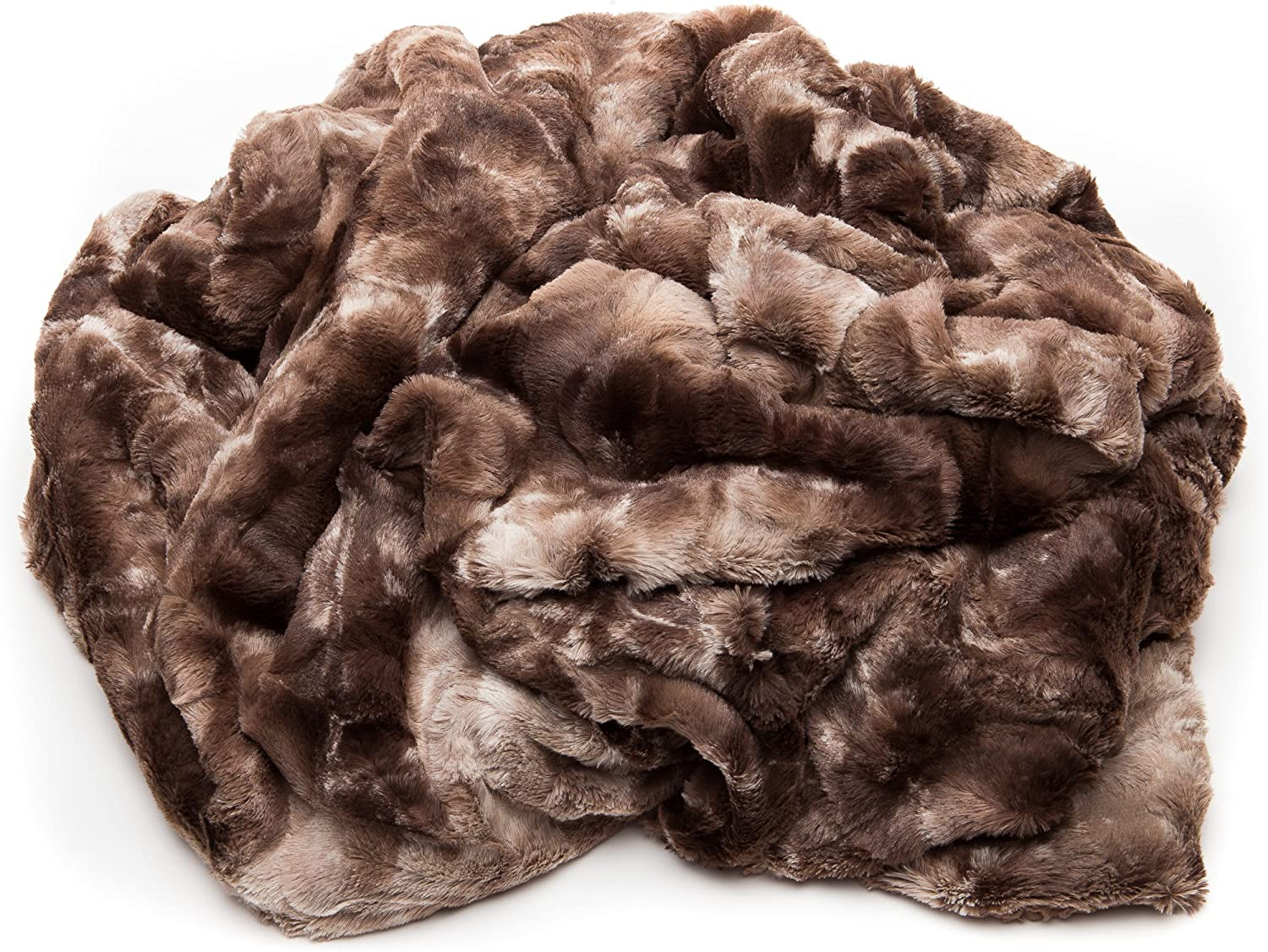 Chanasya Fuzzy Faux Fur Throw Blanket - Light Weight Blanket for Bed Couch and Living Room Suitable for Fall Winter and Spring (50x65 Inches) Chocolate: Home & Kitchen