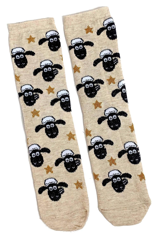 37-42 Eur Ladies Wallace /& Gromit Shaun The Sheep Beige Socks 4-8 UK 6-10 USA