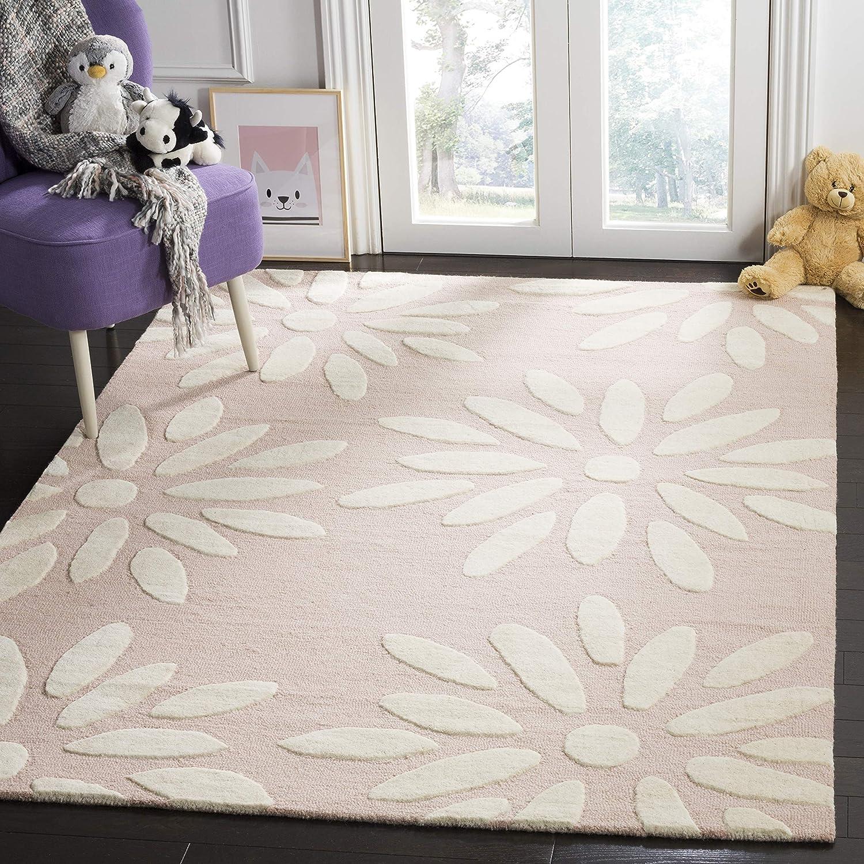 Amazon Com Safavieh Kids Collection Sfk914p Handmade Pink Daisy Wool Area Rug 5 X 7 Furniture Decor