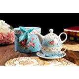 Vintage Rose Flower Victoria Flora Porcelain Tea for One Teapot and Cup suacer in Gift Box (Blue)