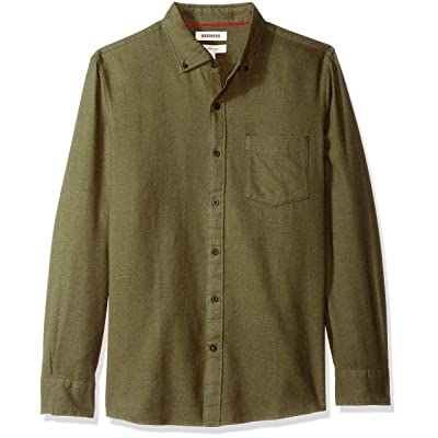 Brand - Goodthreads Men's Slim-Fit Long-Sleeve Brushed Heather Shirt: Clothing
