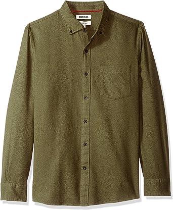 Marca Amazon – Goodthreads – Camisa jaspeada y cepillada de manga larga, corte entallado para hombre, Verde (Olive Heather), (Talla del fabricante: XXX-Large Tall): Amazon.es: Ropa y accesorios