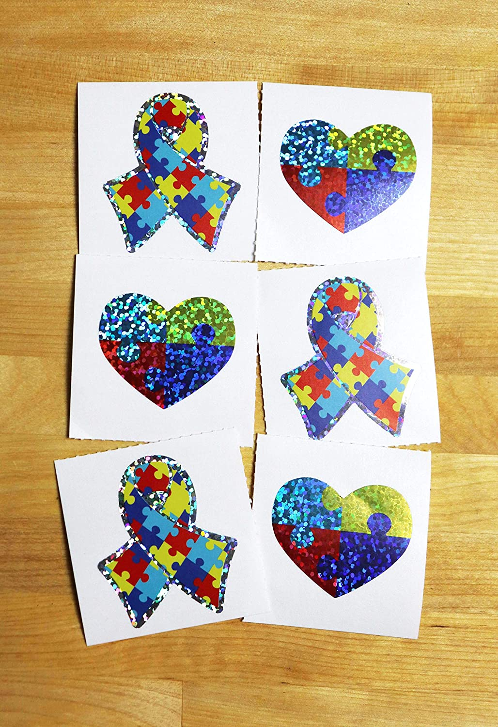 Autism Awareness Ribbon Sparkle Sticker Sheet Pack - 102 Stickers: Arts, Crafts & Sewing