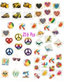 216 Pc Temporary Tattoos Assortment, Includes Funky Heart - Candy - Beach Fun - Cool Dinosaur - Peace Sign, Construction Zone -Temporary Tattoos, For Kids Boy's & Girl's, Party Favors BY 4Es Novelty
