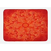 Ambesonne Red Mandala Bath Mat, Vibrant Colored Doodle Style Nature Figures Romantic Abstract Bouquet Art, Plush…