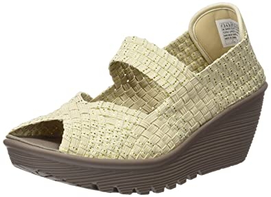 d67a7f5719d9 Skechers Cali Womens Parallel Platform Sandal 38409 Natural Gold Woven 11