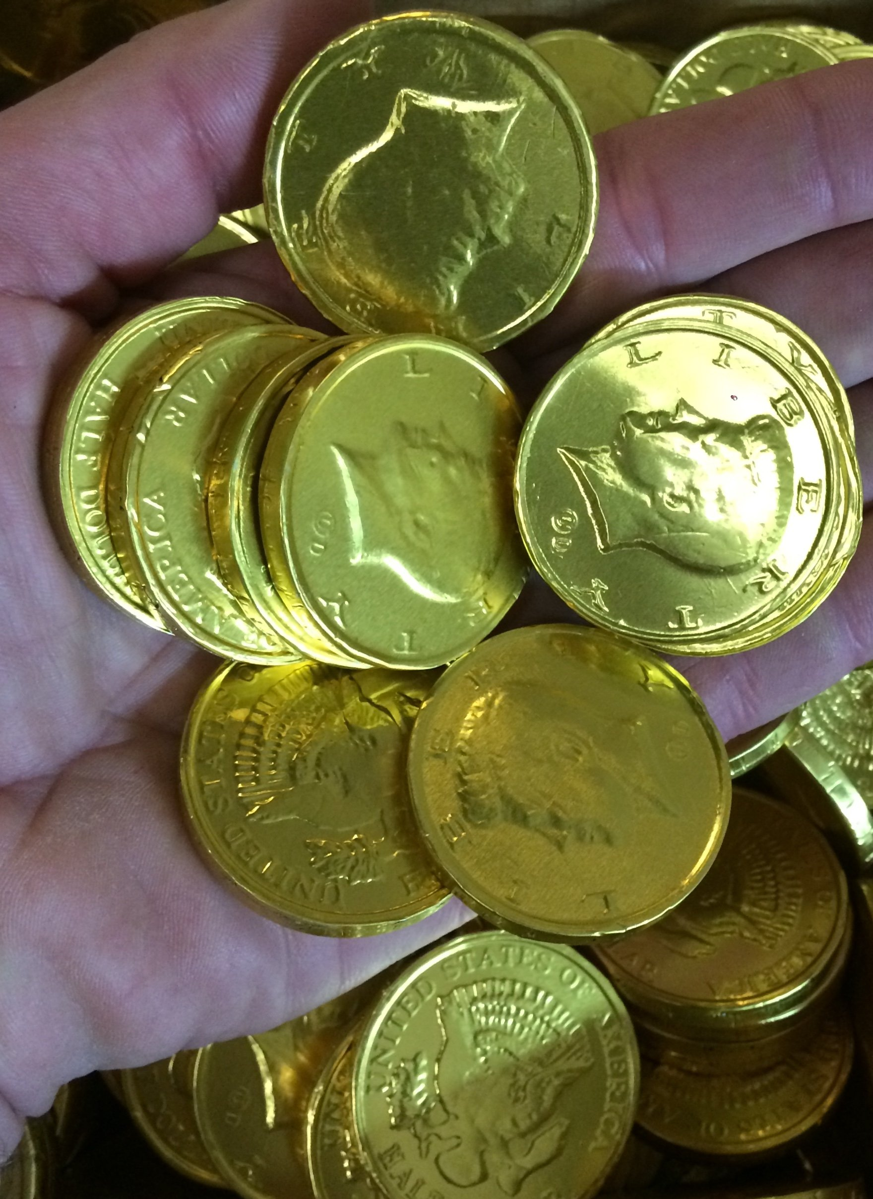 Solid Milk Chocolate Large Kennedy Gold Foil Coins - 10 Pound Box - Wholesale Bulk by River Finn Organics (Image #2)