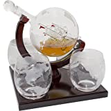 Etched Globe Whiskey Decanter Set -They Will Love this Gift! Includes 4 Glasses & Large Glass Beverage Drink Dispenser also for Brandy Tequila Bourbon Scotch Rum -Alcohol Related Gifts for Dad (850ML)