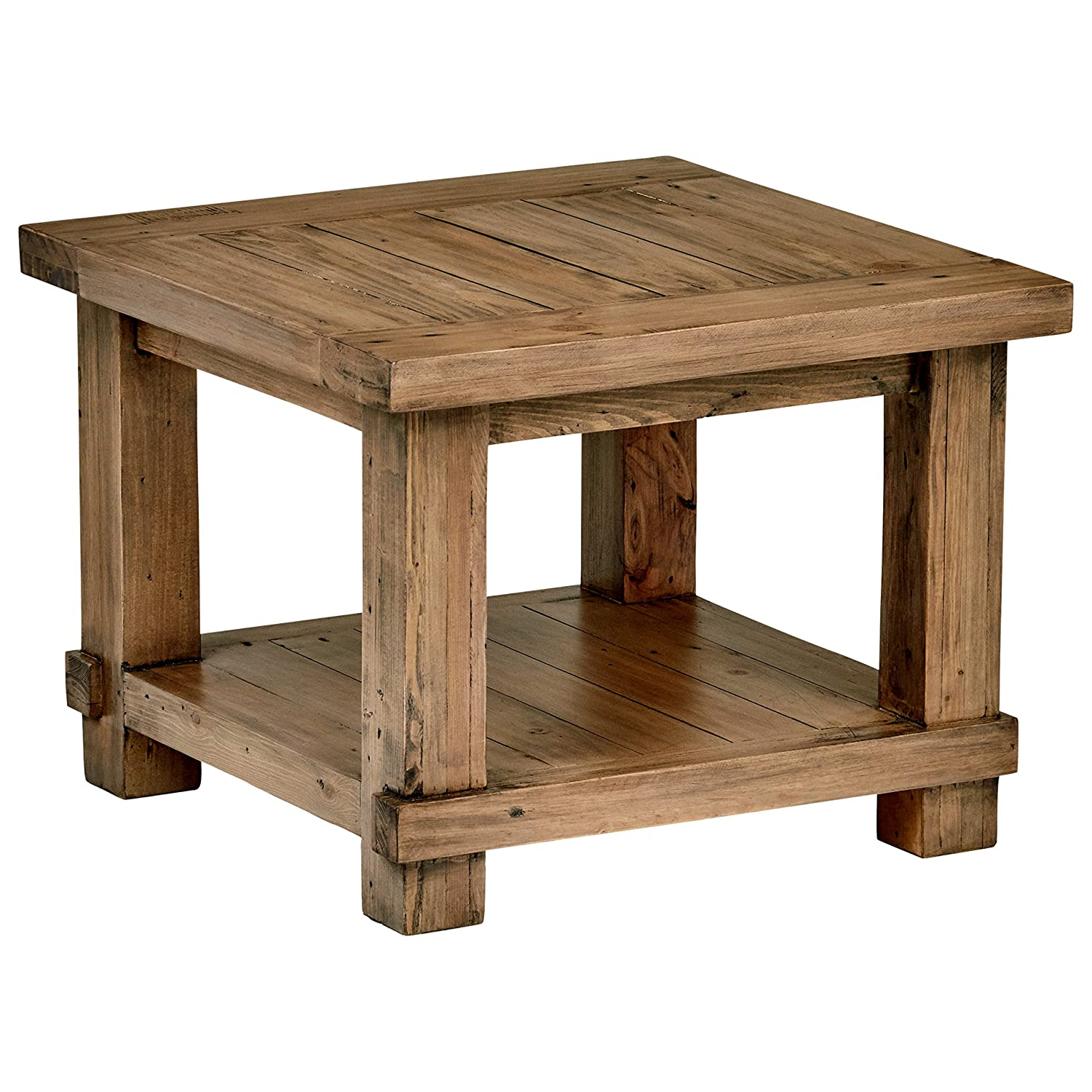 Stone Beam Ferndale Rustic Reclaimed Pine Side End Table, 24 W, Sandstone