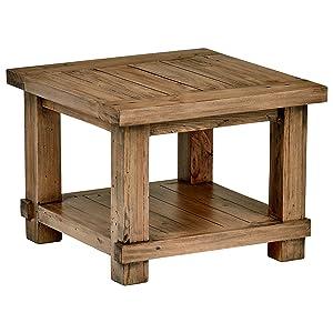 "Stone & Beam Ferndale Rustic Reclaimed Pine Side End Table, 24""W, Sandstone"