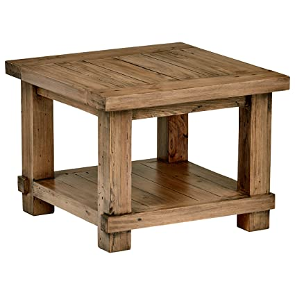 Sensational Stone Beam Ferndale Rustic Reclaimed Pine Side End Table 24W Sandstone Andrewgaddart Wooden Chair Designs For Living Room Andrewgaddartcom