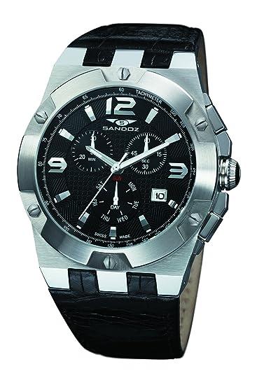 Sandoz 81287-05 - Reloj de caballero de cuarzo, correa de piel color negro: Amazon.es: Relojes