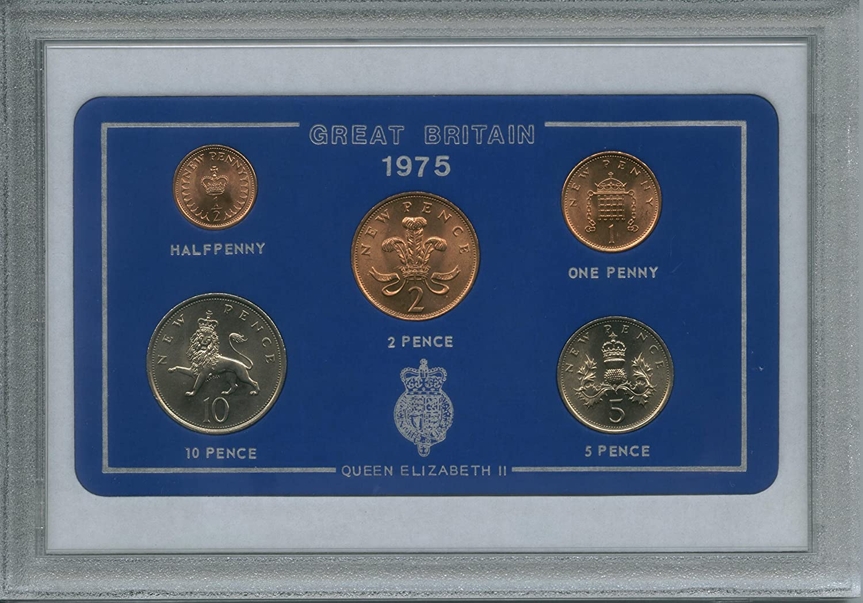 1975 GB gran Bretaña British juego de monedas año de nacimiento (40TH regalo de cumpleaños o Ruby aniversario de boda)