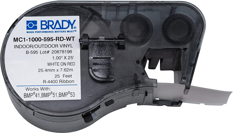 Brady MC1-1000-595-WT-BK Labels for BMP53//BMP51 Printers