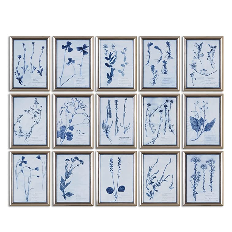 Delft Flowers Wall Art Collage | Silver Blue Botanical Set - botanical home decor