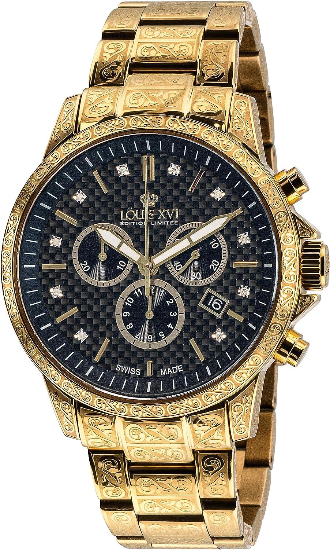 LOUIS XVI Palais Royale 873 - Reloj de pulsera para hombre con correa de acero, color dorado y negro carbón, diamantes auténticos, cronógrafo, analógico, de cuarzo, acero inoxidable