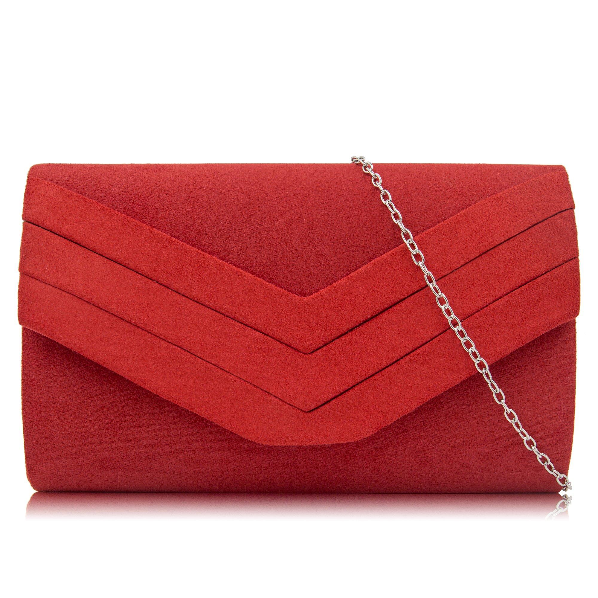 Milisente Clutch Purses for Women Velvet Envelope Evening Bags Classic Shoulder Clutch Purse (Red)