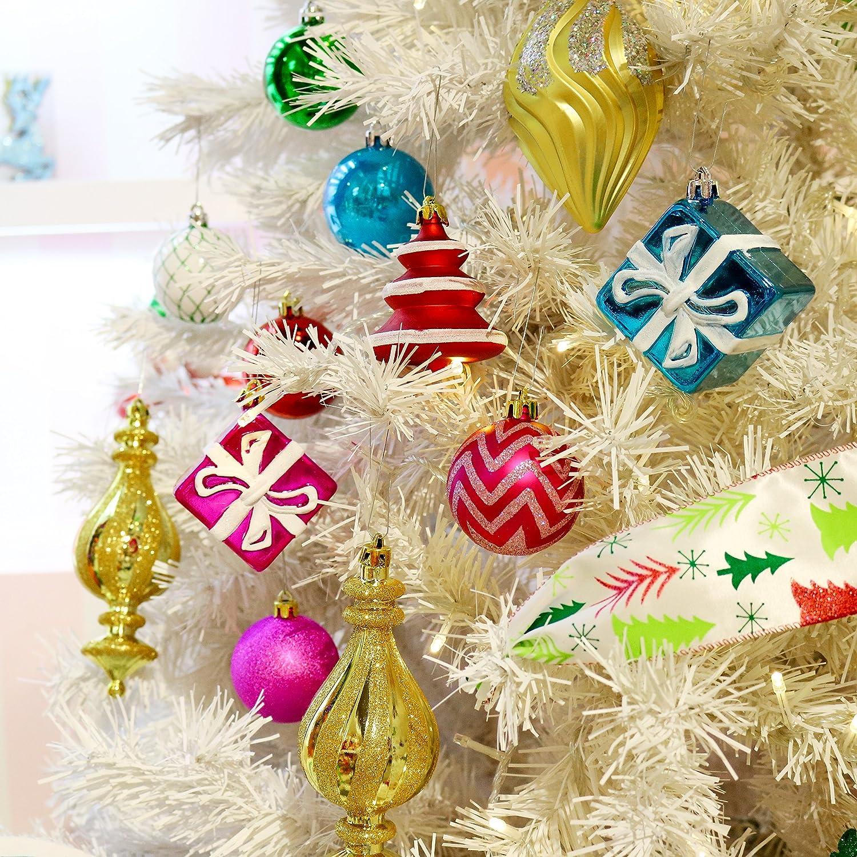 Amazoncom Valery Madelyn 100Ct Joyful Multicolored Shatterproof Christmas Ball Ornaments
