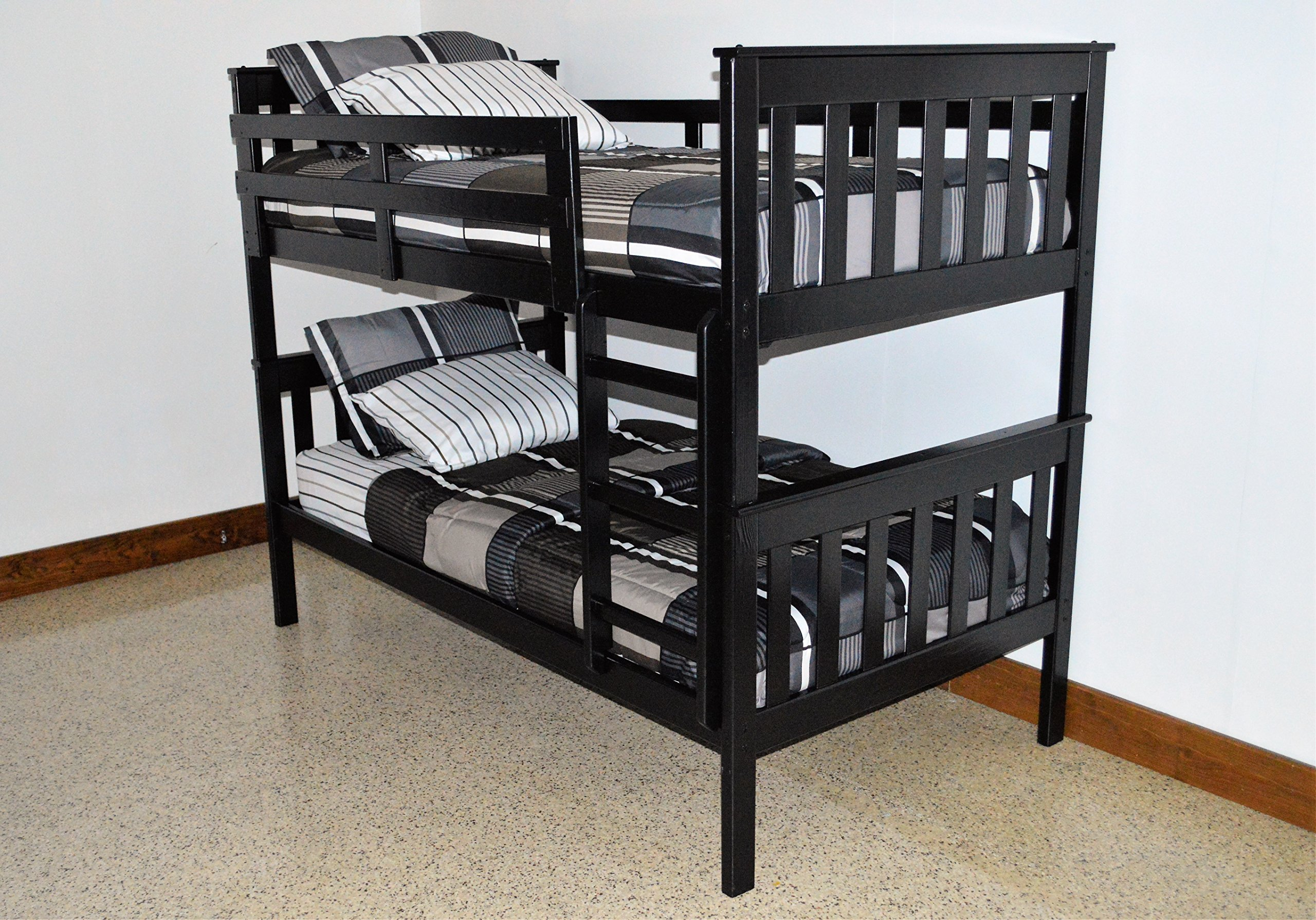 BEST KIDS BUNK BEDS WITH LADDER, Mission Twin Over Twin Bed Bunkbeds | Quality USA Amish Made | Boy And Girl Gender Neutral Bedroom Furniture | Black