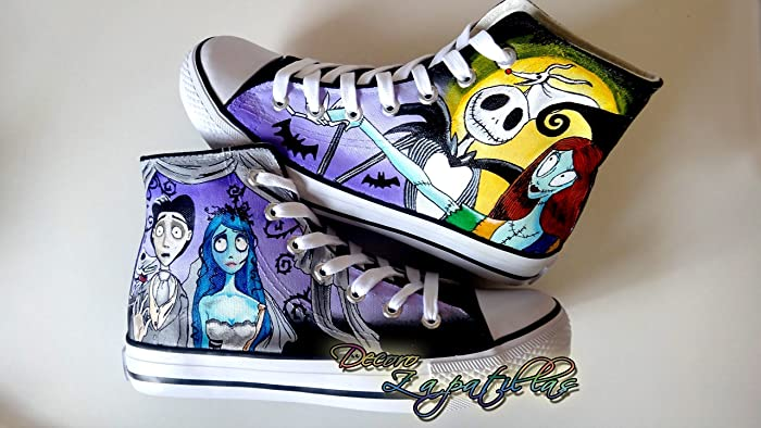 Amazon.com: Nightmare before Christmas custom canvas shoes handpainted, low tops shoes - Christmas gift - Black Friday - Gifts for him - Gifts for her: ...