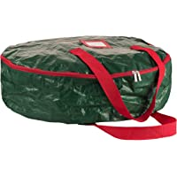 "ZOBER Wreath Storage Bag 24"" - Tear Resistant Material Storage Bag for Wreath Storage With Sleek Zipper, Featuring Transparent Card Slot 24"" L 24"" W 7"" H (Green)"