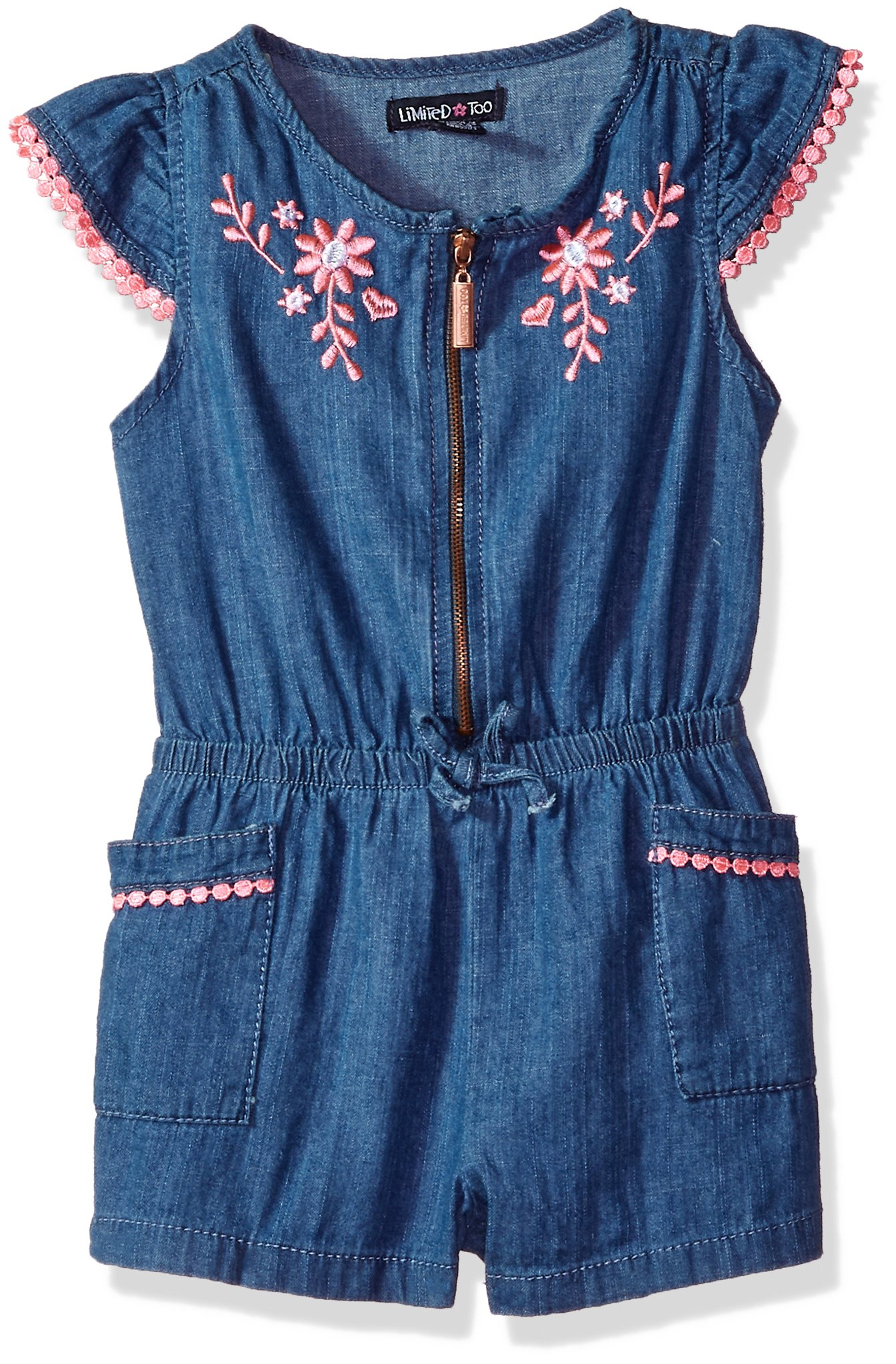 Limited Too Toddler Girls' Romper, Flower Cross Hatch Denim Medium Blue Wash, 2T