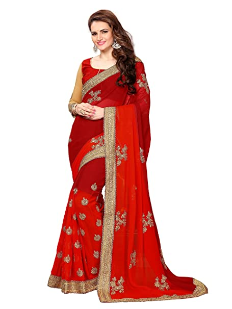 c781e2d0ca75b Online Fayda Women s Georgette Saree With Blouse Piece (Of196 Maroon)   Amazon.in  Clothing   Accessories