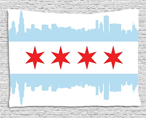 Ambesonne Chicago Skyline Tapestry, City of Chicago Flag with High Rise Buildings Scenery National, Wide Wall Hanging for Bedroom Living Room Dorm, 80 X 60 , Red White