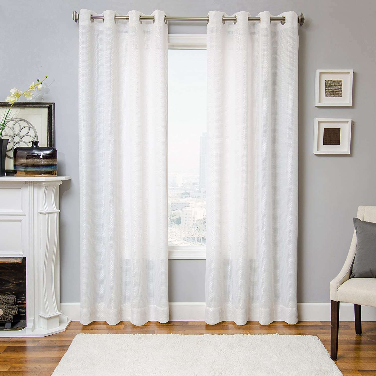 Amazon com softline belmar series modern window treatment curtain drape panel with wide weave sheer design grommet top 55 x 84 in white home