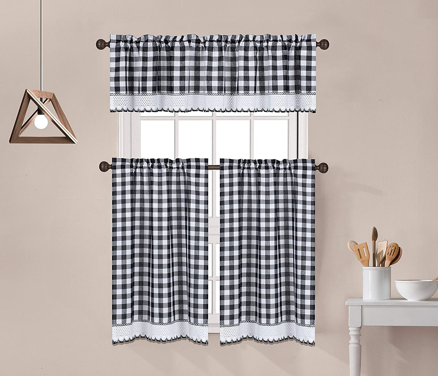 3 Pc Buffalo Check Gingham Crochet Lace Trimmed Kitchen Window Curtain Tiers & Valance Set