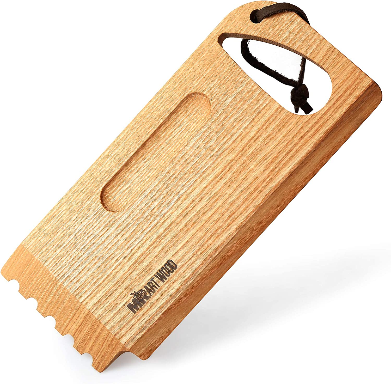 "Mr.Art Wood BBQ and Grill Wooden Scraper Tool, Size 10.6"" x 4.7"" – Made in Europe, Barbeque Cleaner with Grooved and Flat Edge for Ceramic or Metal Surfaces – 100% Natural One-Piece Ash Wood"