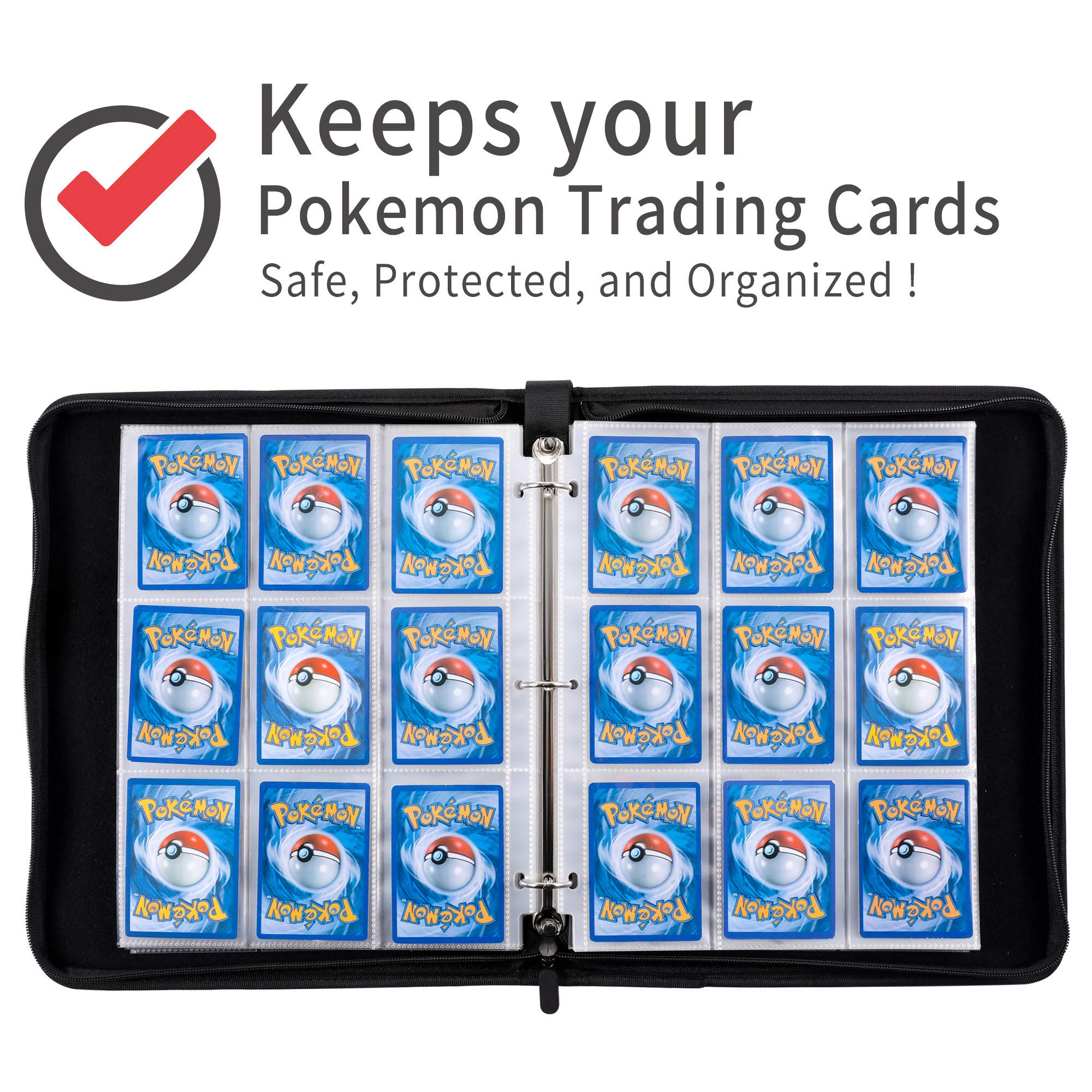 D DACCKIT Carrying Case Compatible with Pokemon Trading Cards, Cards Collectors Album with 30 Premium 9-Pocket Pages, Holds Up to 540 Cards(Red and White Version) by D DACCKIT (Image #6)