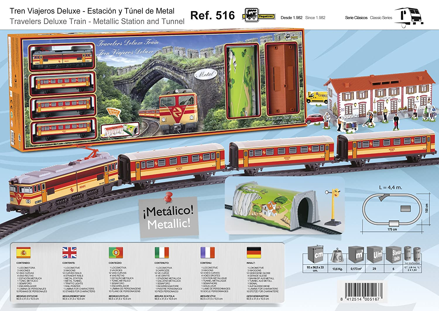 PEQUETREN Pequetren516 Classic Deluxe Travelers Metallic Model Train  with Station and Tunnel