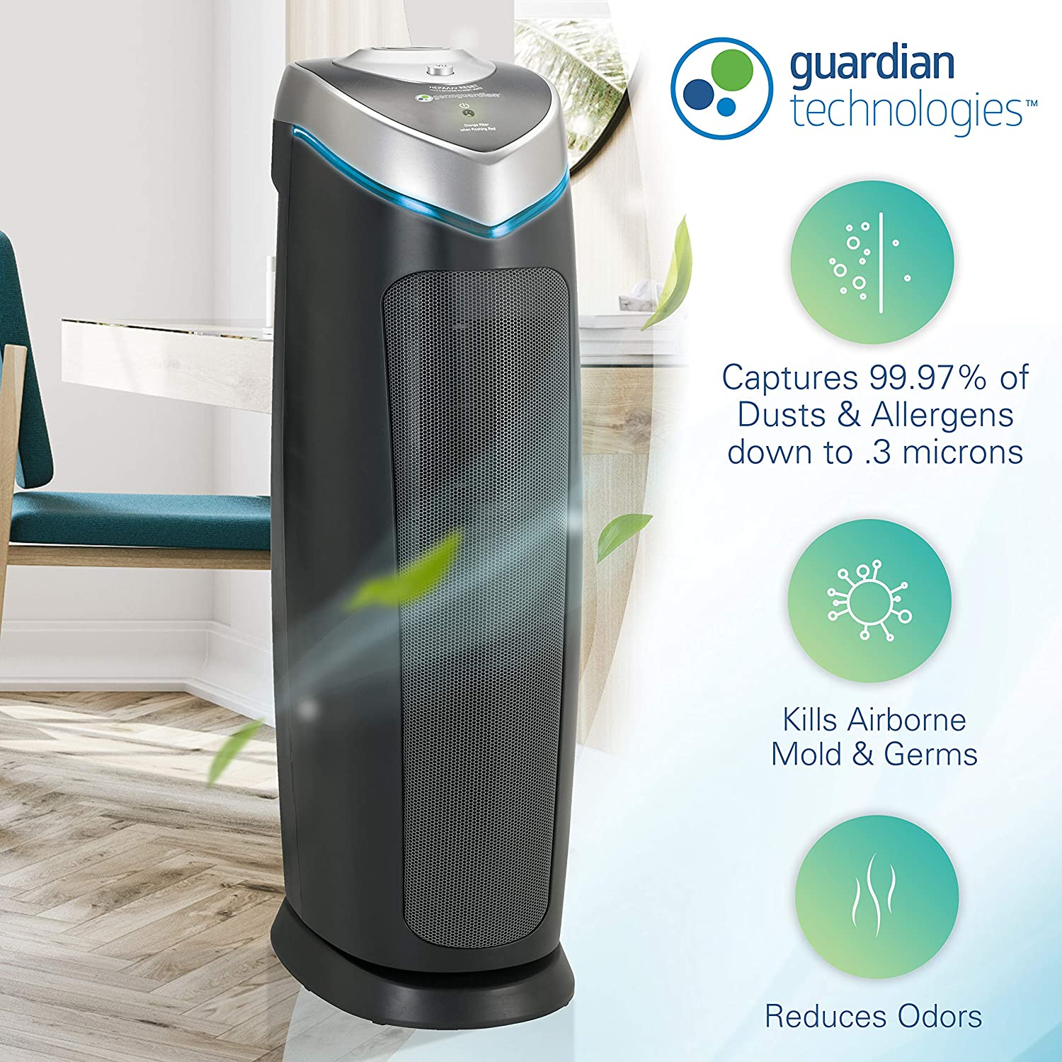 Germ Guardian True HEPA Filter Air Purifier with UV Light Sanitizer, Eliminates Germs, Filters Allergies, Pollen, Smoke, Dust Pet Dander, Mold Odors, Quiet 22 inch 4-in-1 Air Purifier for Home AC4825E: Health & Personal Care