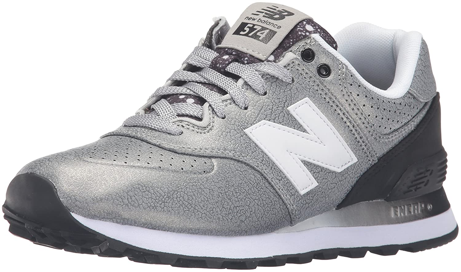 New Balance Women's WL574 CORE Plus-W Lifestyle Sneaker B019569HR6 6 B(M) US|Silver/Black
