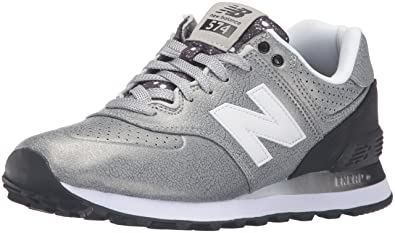 mode designer 639e2 5bfee new balance Women's 574 Silver and Black Sneakers - 6 UK ...