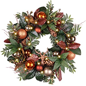 Valery Madelyn Pre-Lit 24 Inch Woodland Christmas Wreath with Glittery Shatterproof Ball Ornaments and Pine Cone, Battery Operated 20 LED Lights