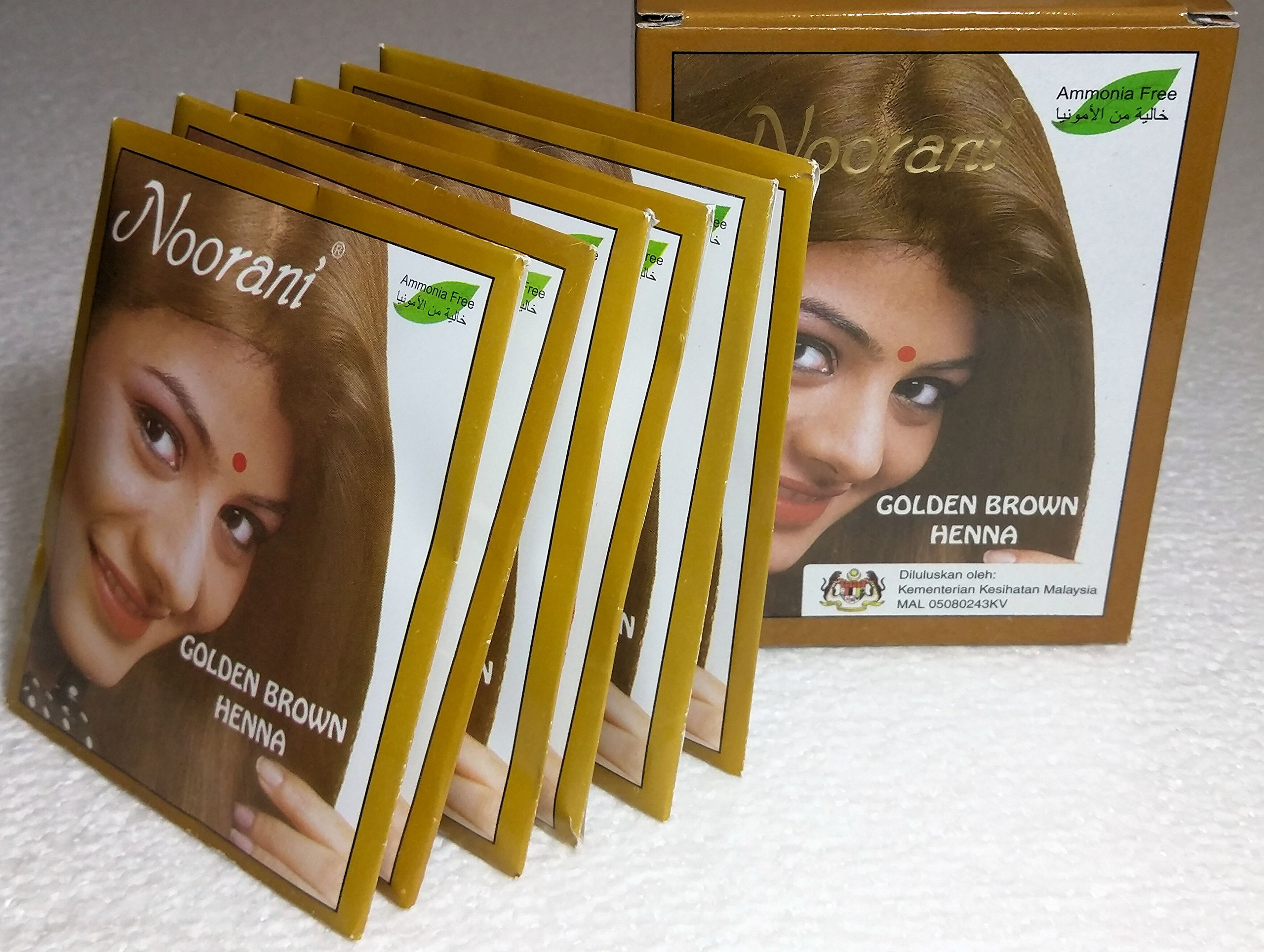 Noorani Golden Brown Henna for Hair 6 X 10 Gms/Box (Pack of 10 Boxes)