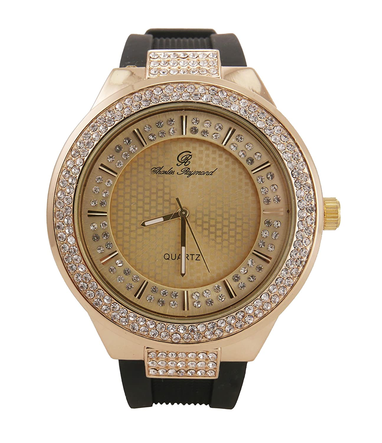 Best Hip Hop Rubber Band Luxurious Bling Bling Fashion Style Iced Out Watch with Crafted Double Dial Iced Out Look – 8623 Black Gold