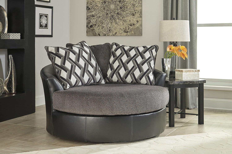 Amazon.com: Benchcraft Kumasi Contemporary Oversized Swivel Accent Chair    Smoke Gray: Kitchen U0026 Dining