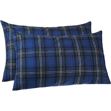 Pinzon 160 Gram Plaid Flannel Pillowcases - King, Blackwatch Plaid - PZ-PLFLAN-BWP-KPC