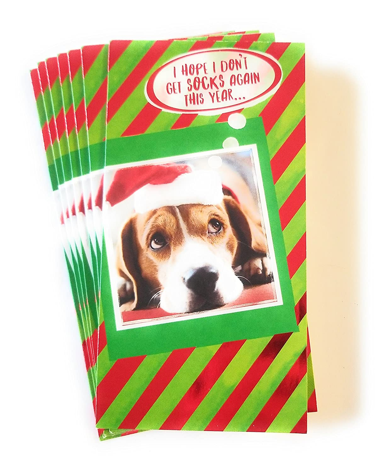 Christmas Money or Gift Card Holder Cards - Set of 8 with Metallic/Glitter Accents (Santa Dog) Christmas House