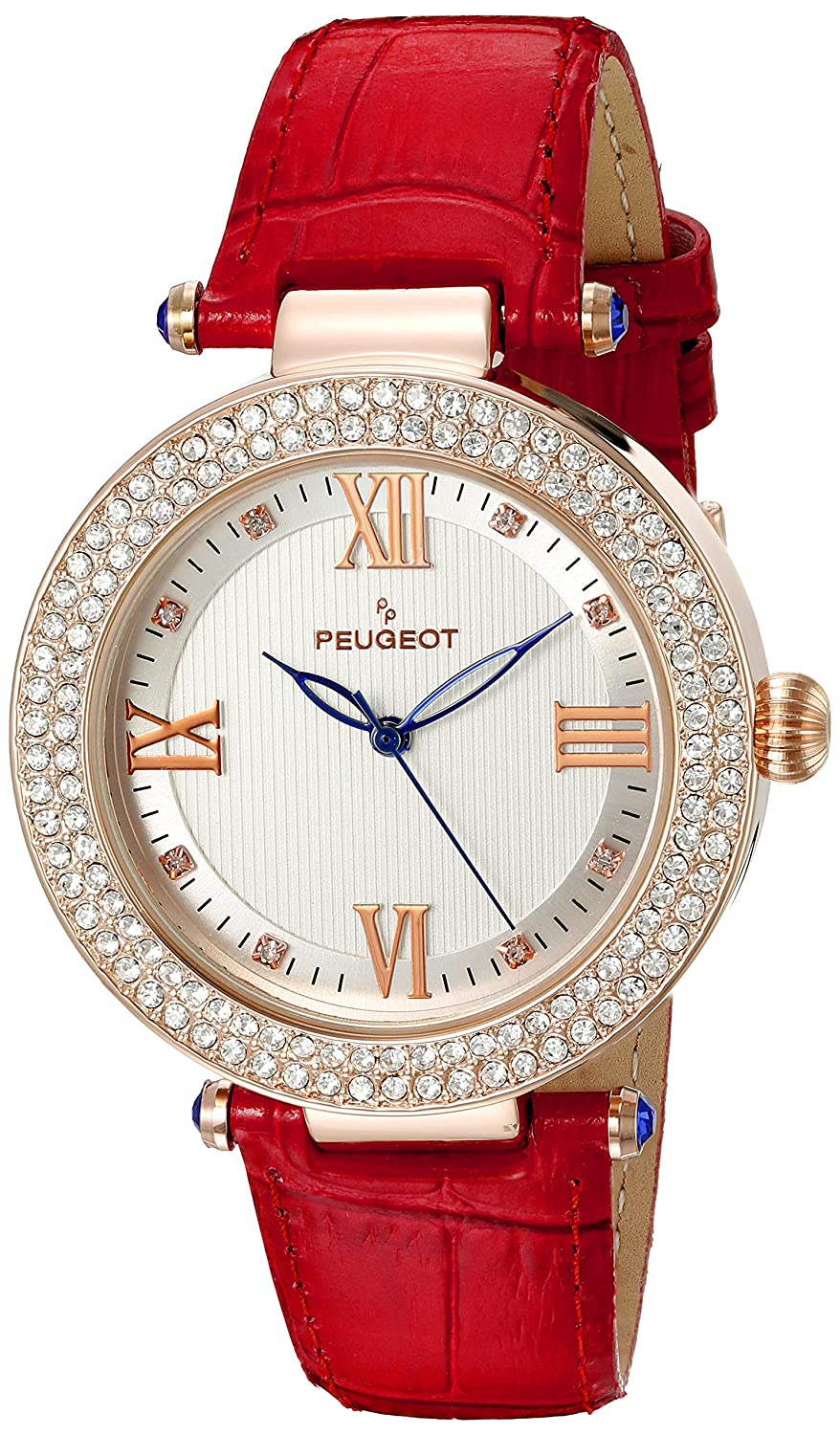 Peugeot Womens Luxury 14k Rose Gold Plated Leather Dress Watch