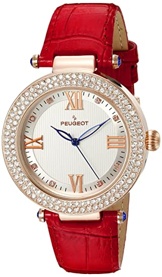 Amazon.com: Peugeot Womens Luxury 14k Rose Gold Plated Red Leather Dress Quartz Red Leather Dress Watch (Model: 3046RD): Watches