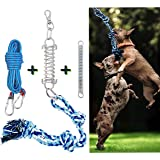 TRSMIMA Spring Pole Dog Rope Toys-Dog Muscle Builder, tug of war Toy& 2 Different Capacity Springs and 18ft Rope Included,Retractable Interactive Dog Toy for Pitbull & Medium to Large Dogs