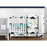 Navy Blue and Green Modern Dinosaur Baby Boys or Girls 9 Piece Crib Bedding Set with Bumper