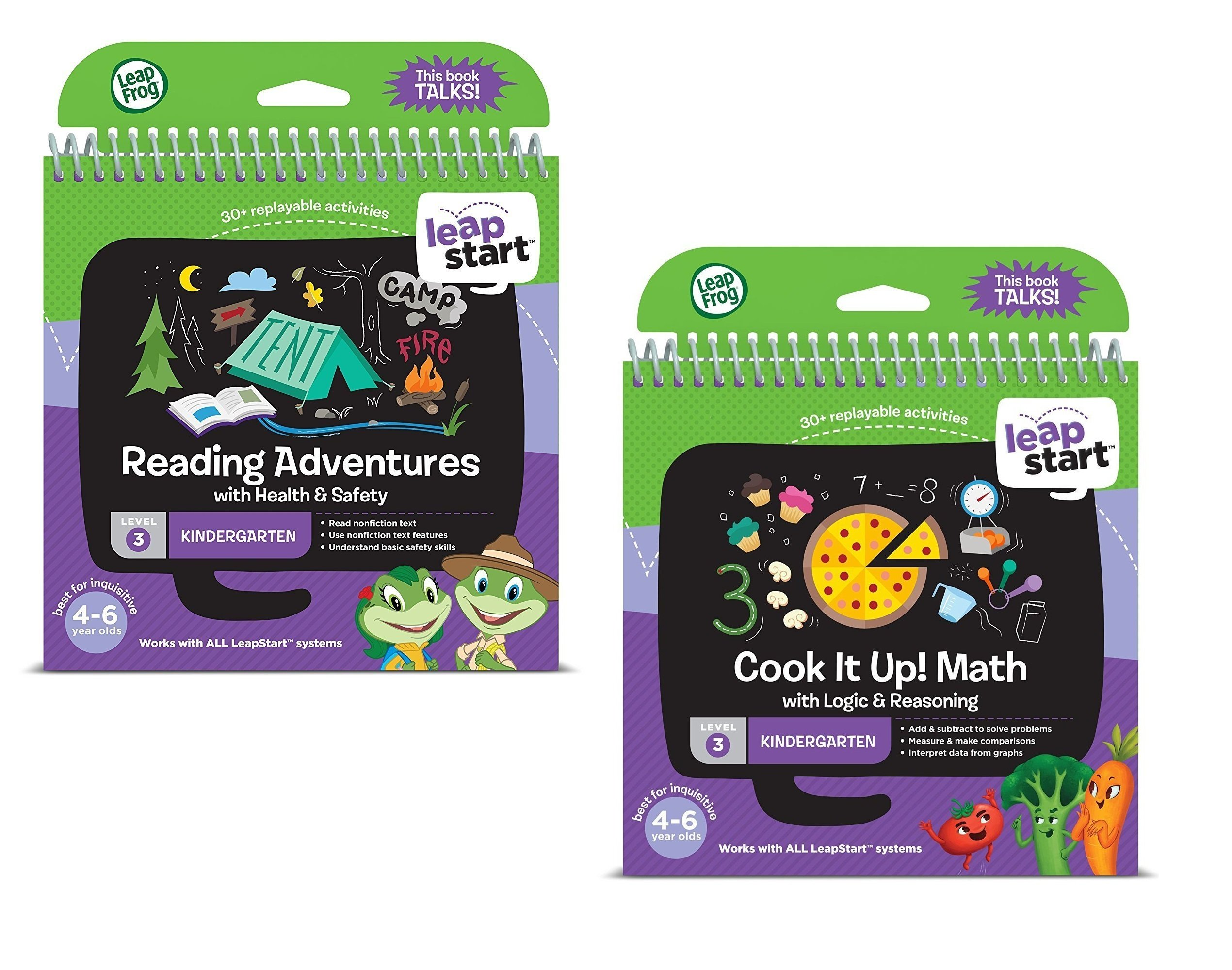 LeapFrog LeapStart Level 3 Kindergarten Book Bundle with Reading Adventures and Cook It Up! Math by LeapStart