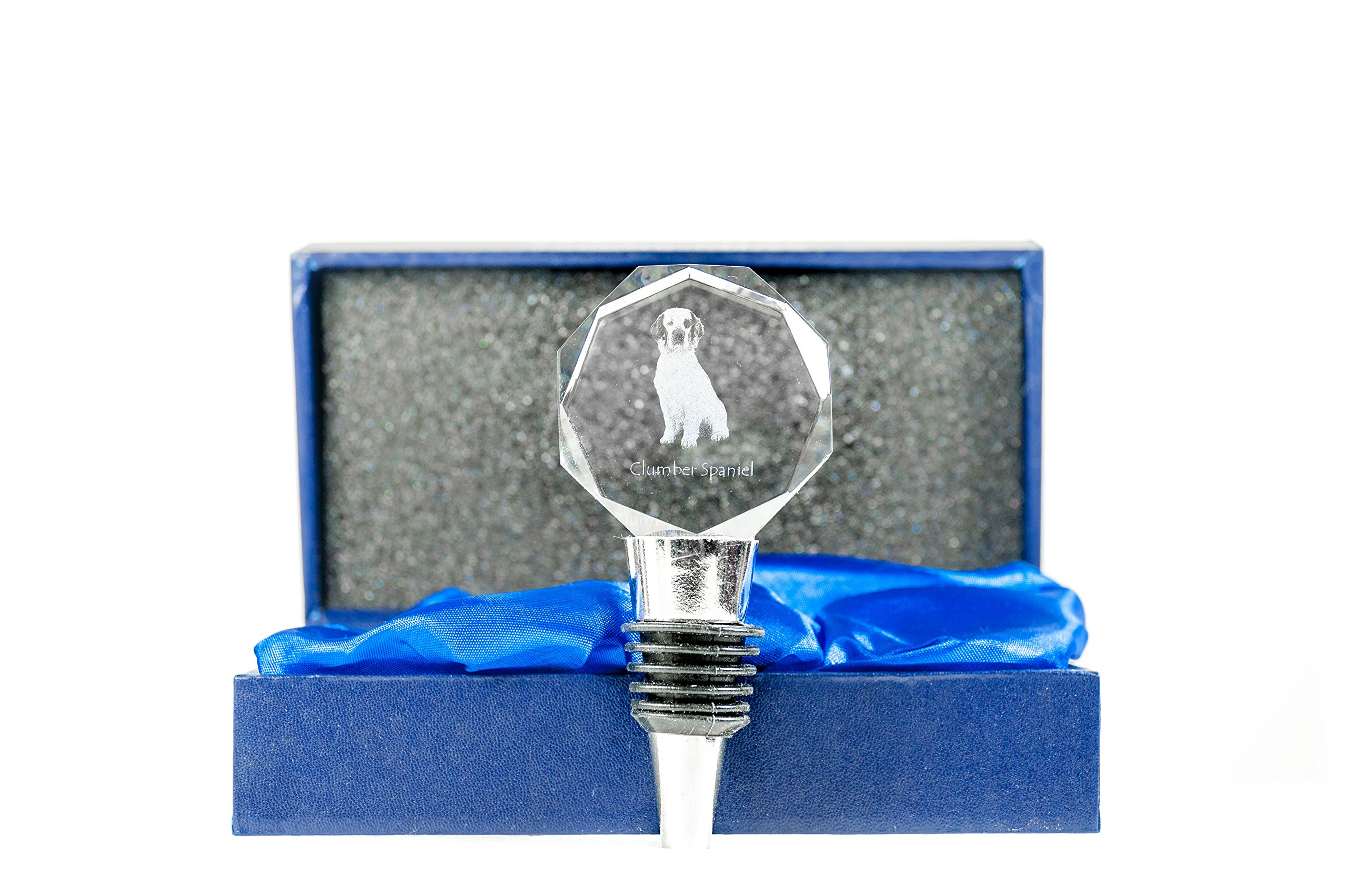 Clumber Spaniel, Crystal Wine Stopper with Dog, Wine and Dog Lovers, High Quality, Exceptional Gift by Art Dog Ltd.