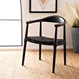 Safavieh Home Juneau Black and Black Leather Woven Accent Chair