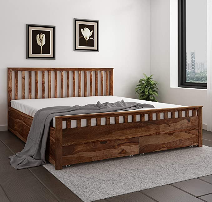 Home Edge Sheesham Wood Abbey Queen Size Bed with Drawer for Bedroom Living Room  Teak Finish  Beds  Frames   Bases